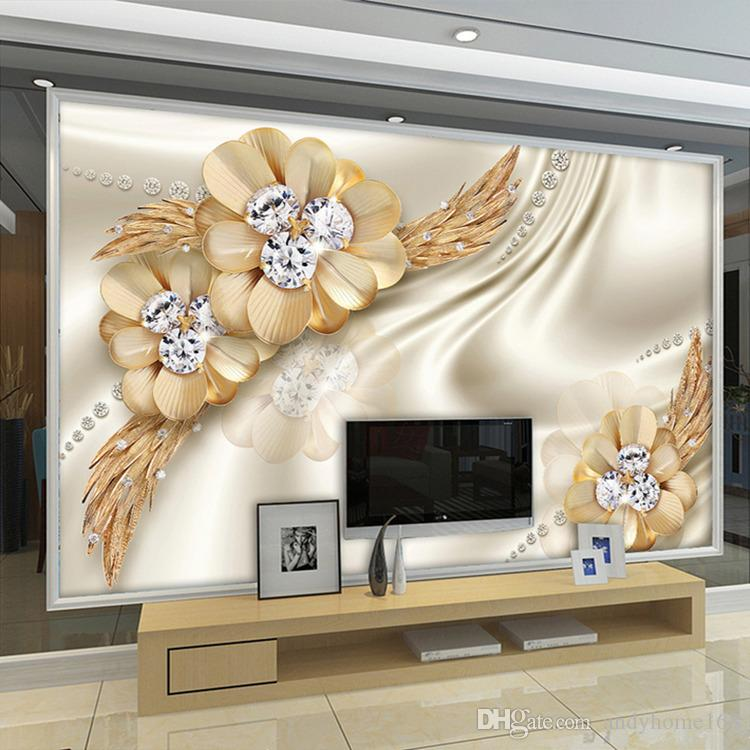 Custom 3D Wallpaper Golden Diamond Flower Jewelry Large Wall Painting estilo europeo Living Room TV Desktop Silk Mural Wallpaper