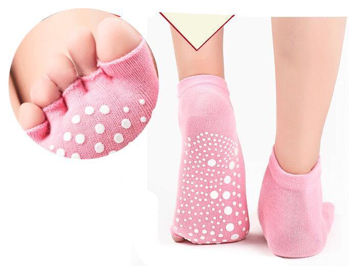 Presa mezza a vita bassa da donna antiscivolo balletto Yoga Pilates Barre Toe Socks Girl Fashion Sport calze bambini calzini