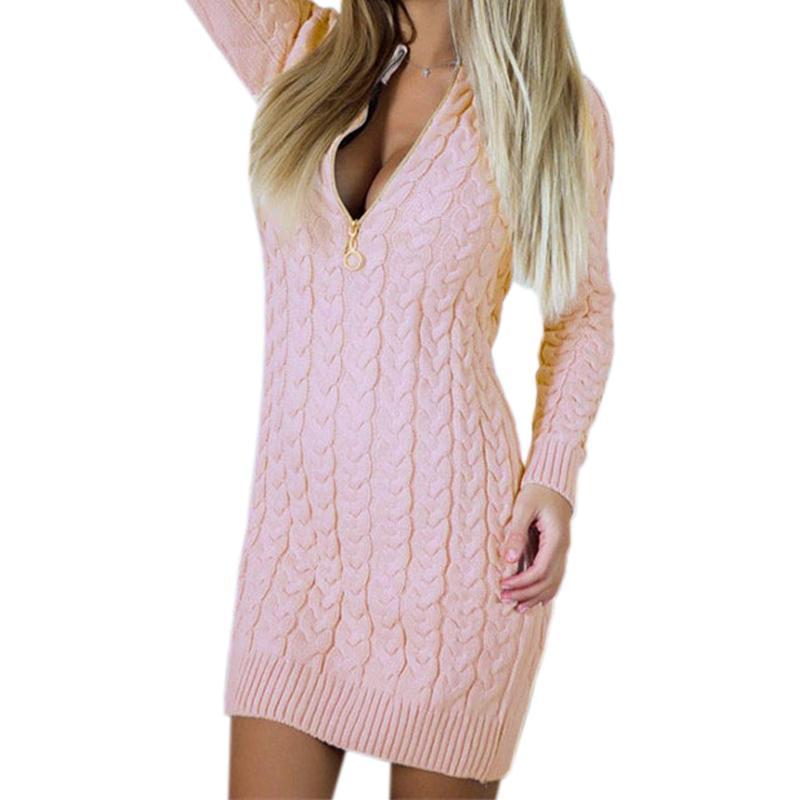 Großhandel Zipper 2018 Herbst Winter Pullover Kleid Sexy V Ausschnitt  Strick Kleider Warm Bodycon Minikleid Mode Zip Up Frauen Kleid New Gv101  D18102902 Von ... f788f3d96f