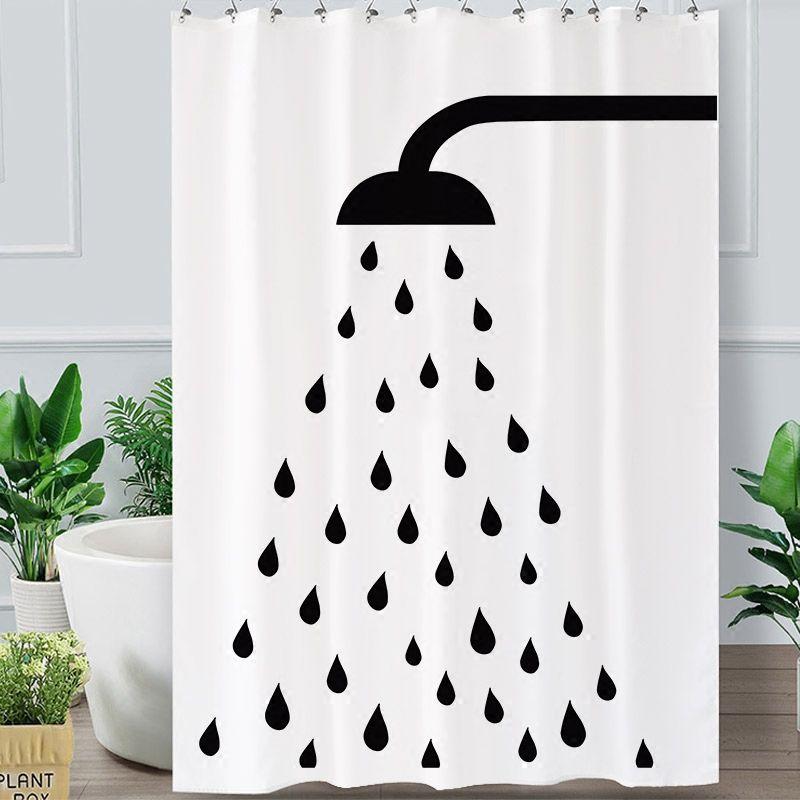 방수 두꺼워 화이트 폴리 에스테르 샤워 커튼 미니멀 욕실 커튼 고품질 샤워 세트 인쇄 목욕 샤워 커튼