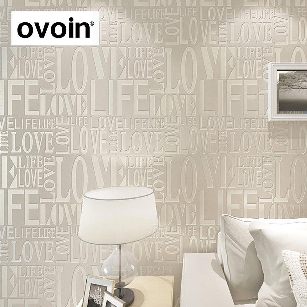 Paysota Modern Simple Solid Color Yellow Wallpaper Bedroom: Purple/Gray/Pink/Yellow/White Flock Words Textured Letters