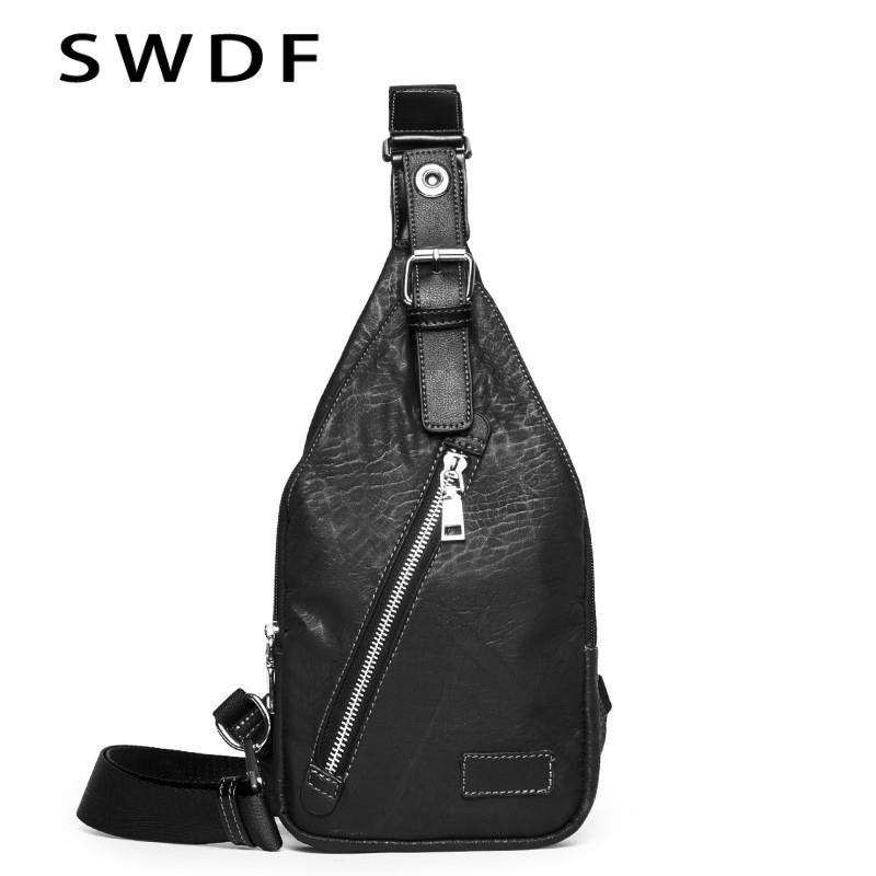 aaf87015e SWDF New Crossbody Bags Men'S Chest Bag Designer Messenger Bag Leather  Shoulder Bags Diagonal Package 2018 New Back Pack Travel Cooler Bags  Backpacking ...