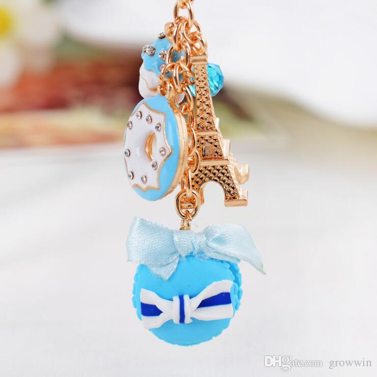 Cute Sweet Cake Resin Key Chain Metal Crafts Girls Small Gift Car Keychain Keychain Pendant D0298