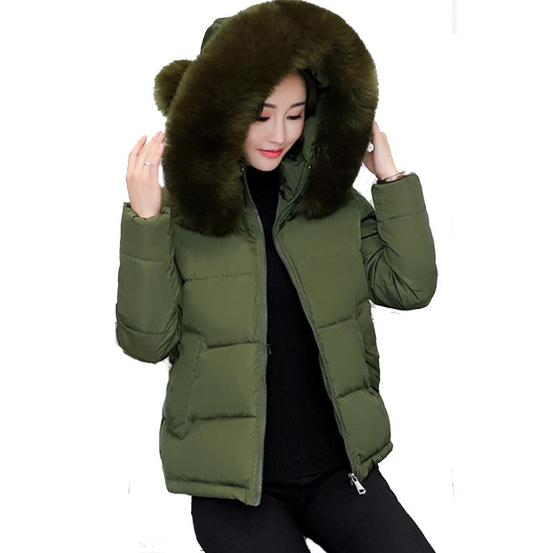 2018 fur collar hooded winter jacket women short cotton padded womens coat warm outerwear jaqueta feminina inverno