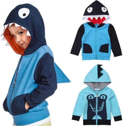 78fb8ab51 2019 New Brand Toddler Kids Girl Boy Sweatshirt Cartoon Shark Hoodie ...