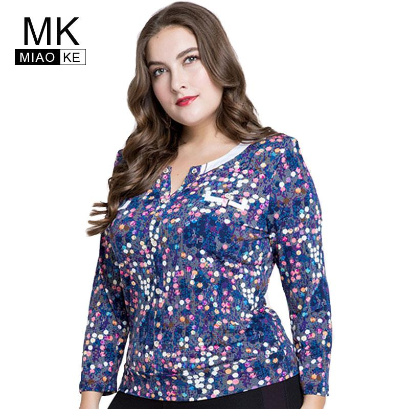 ab890c614c8bc 2019 Miaoke 2018 Plus Size Tops And Blouses Women Clothes Fashion Long  Sleeves Sequin Round Neck Sleeve Blouses 4xl 5xl 6xl From Tielian