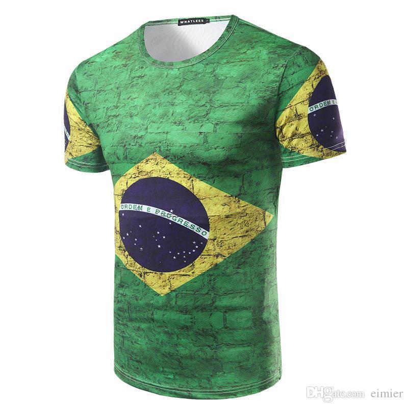 Compre Venta Al Por Mayor De La Bandera De La Camiseta De Impresión De La  Copa Del Mundo De Brasil Camisetas De Manga Corta Casual 3D Impreso Camiseta  ... 017ff0b079b