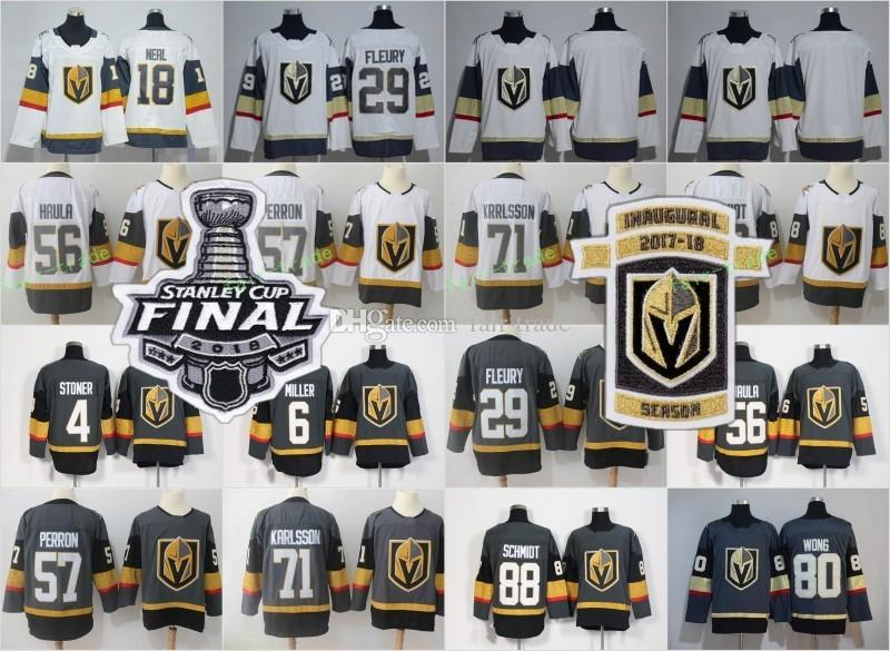 97264c6dc Online Cheap 2018 Stanley Cup Final Patch Vegas Golden Knights 29 Fleury 4 Clayton  Stoner 6 Colin Miller 81 Jonathan Marchessault 88 Nate Schmidt Jersey By ...