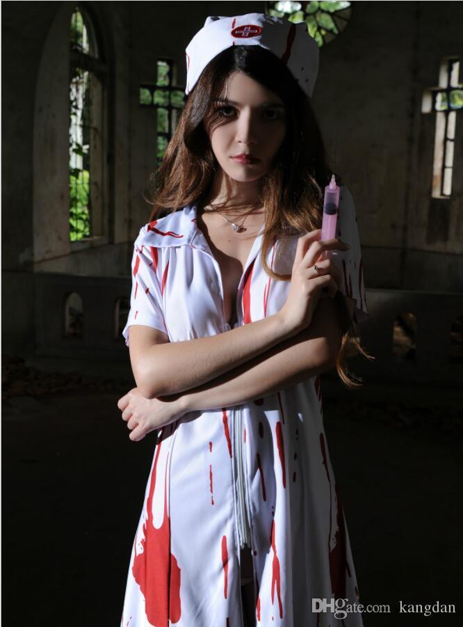 ebbaaf1a9f3e9 2019 Halloween Ghost Nurse Uniform Cosplay Scary Bloody Nurse Cape Sexy  Uniform Temptation Clothes Cosplay Prop Women Dress Party Bar Supplier From  Kangdan, ...