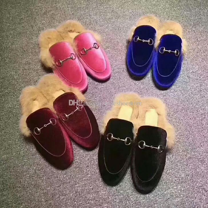 Ünlü Kadife Prens Kasaba Muller Kadın Deri Tavşan Kürk Terlik Kadın Yün Loafer'lar Terlik Lady Mules Casual Ayakkabılar Kutusu Ile Birçok Renk