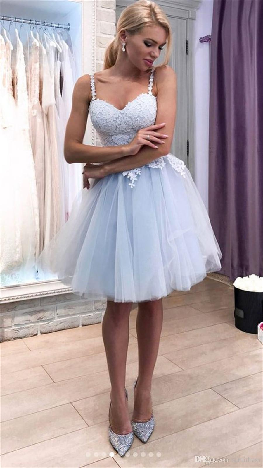 26c63813d234b Ice Sky Blue Tulle Spaghetti Straps Short Graduation Homecoming Dresses  Short Prom Dress With Lace Appliques Reals Lulus Dress Reception Dresses  From ...
