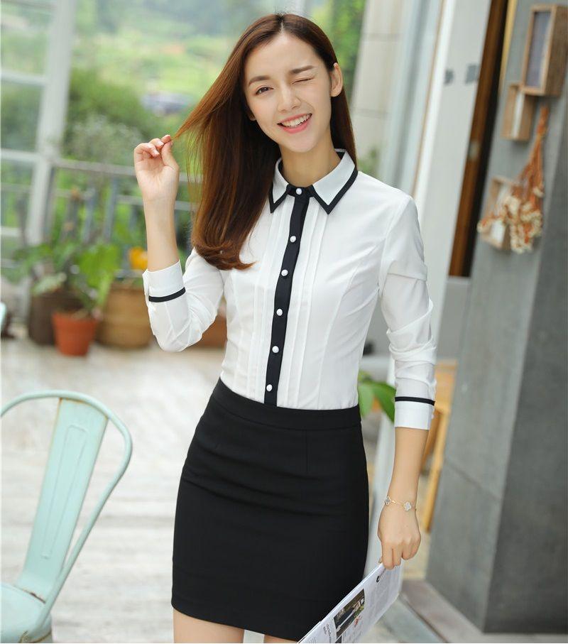 Compre Diseños De Uniformes De Oficina AidenRoy Para Trajes De Negocios  Para Mujeres Con Falda De Dos Piezas Y Blusas Conjuntos Para Damas Tops  Blancos A ... eab5a075371b