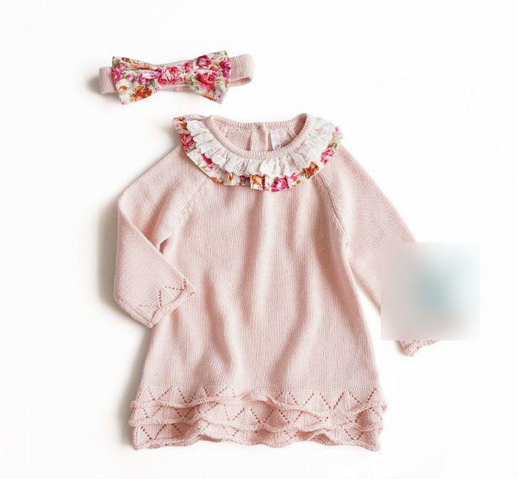 fca4e0bcee68b Baby girls sweater dress kids lace hollow embroidery falbala lapel long  sleeve A-line dress+floral printed Bows headbands 2pcs sets F1862