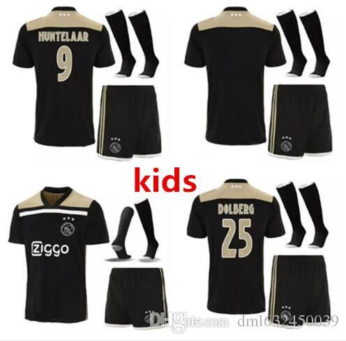 db289188b Ajax Kids Black Soccer Jerseys Kits+socks 2018 2019 AJAX FC KLAASSEN MILIK  NOURI DOLBERG ZIYECH Children Football Uniform Shirts Set.