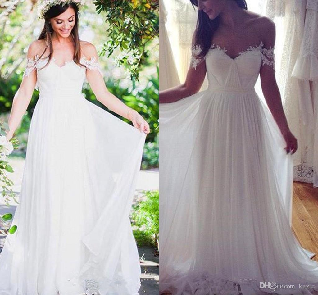 f3d8132ed692 Lace Off Shoulder Beach Wedding Dresses 2018 Modest Simple Flowy Chiffon  Skirt Full Length Summer Holiday Boho Beach Country Bridal Dress Canada 2019  From ...