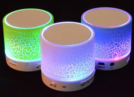 Wireless Speaker Bluetooth Mini Speakers A9 Led Colored Flash Speaker FM Radio TF Card USB with retail package