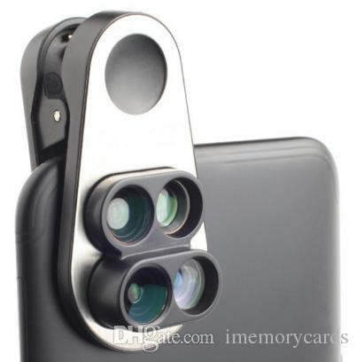 2018 Hot selling Double camera Wide-angle Macro Fisheye Telephoto Universal Clip Quad Mobile phone Special effects Camera Photo lens