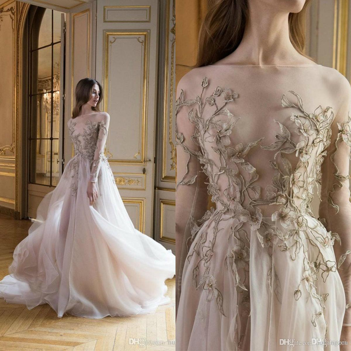 Illusion Evening Dresses Long Sleeves Free Shipping Sheer Neck 3D Floral Applique Floor Length Custom Made Formal Dresses