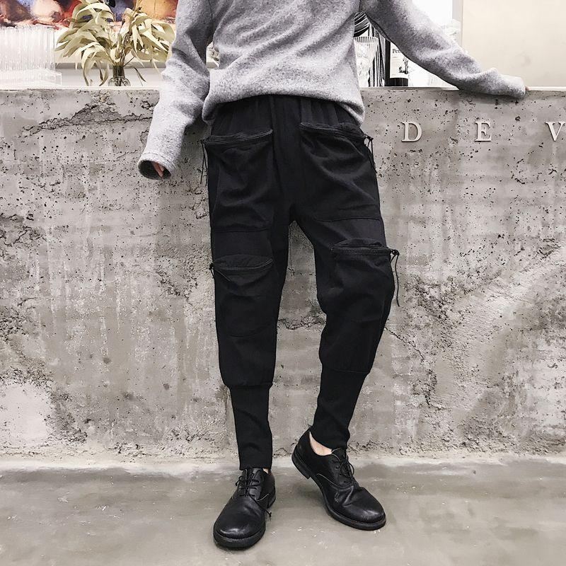 70a7dbce371d6 Compre Hombre Punk Joggers Pantalones De Chándal Hombres Streetwear Hip Hop  Pantalón Harem Casual Pantalón Multibolsillos Negro Japón Pantalones Cargo  A ...