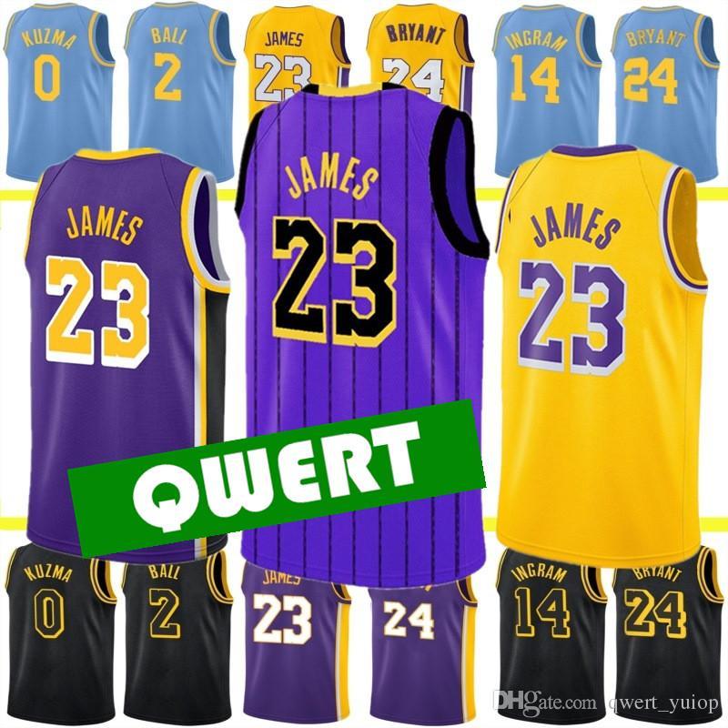 c4befc86b 2019 Mens Los Angeles Lakers Jerseys 23 LeBron James Jersey 24 Kobe ...