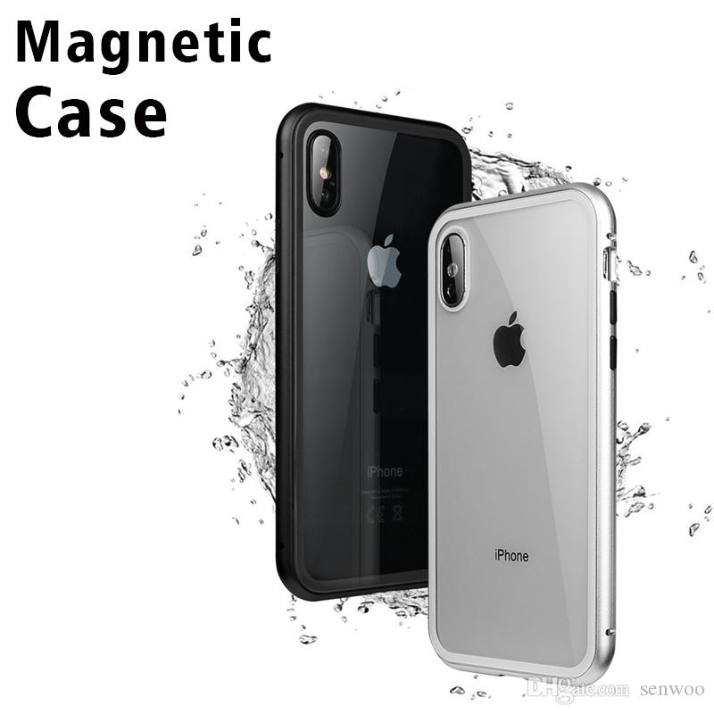 phone case for iphone 6 7 8 x magnetic frame tempered glass pc cell