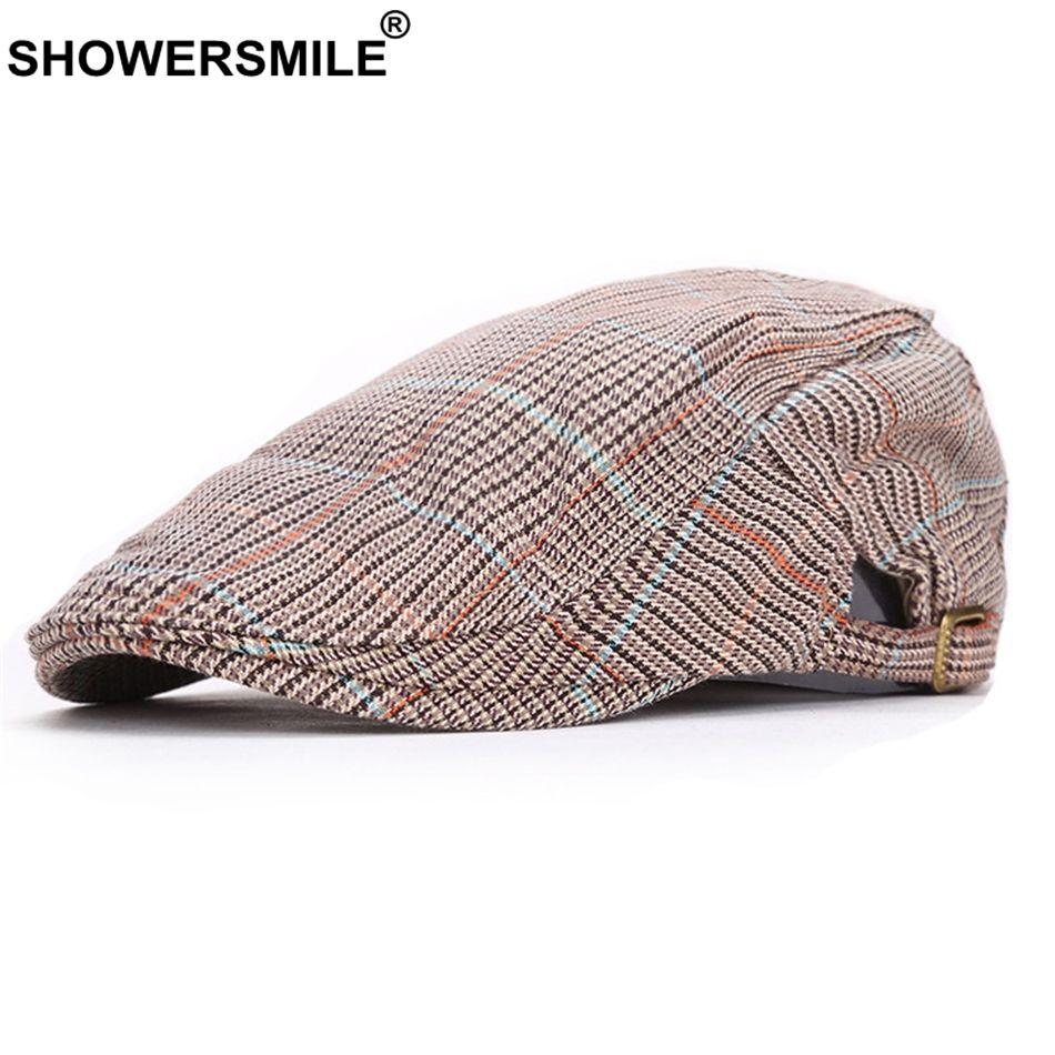 f0f76dcd16bbc SHOWERSMILE Cotton Berets Men Plaid Khaki Adjustable Duckbill Hat ...