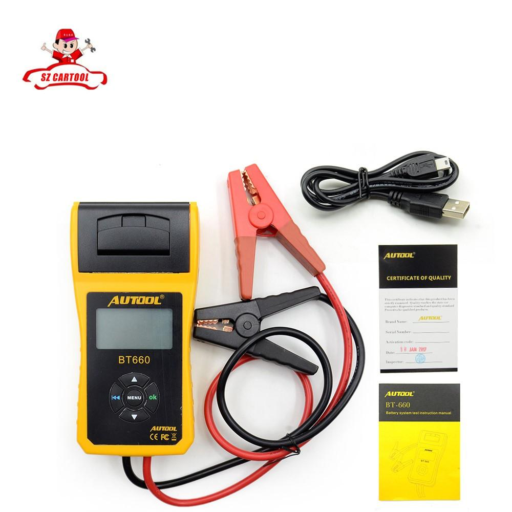 Wholesale-New Arrival AUTOOL 12V Car Battery Load Tester with printer  BT660/Multi-language Digital automotive battery tester CCA100-3000