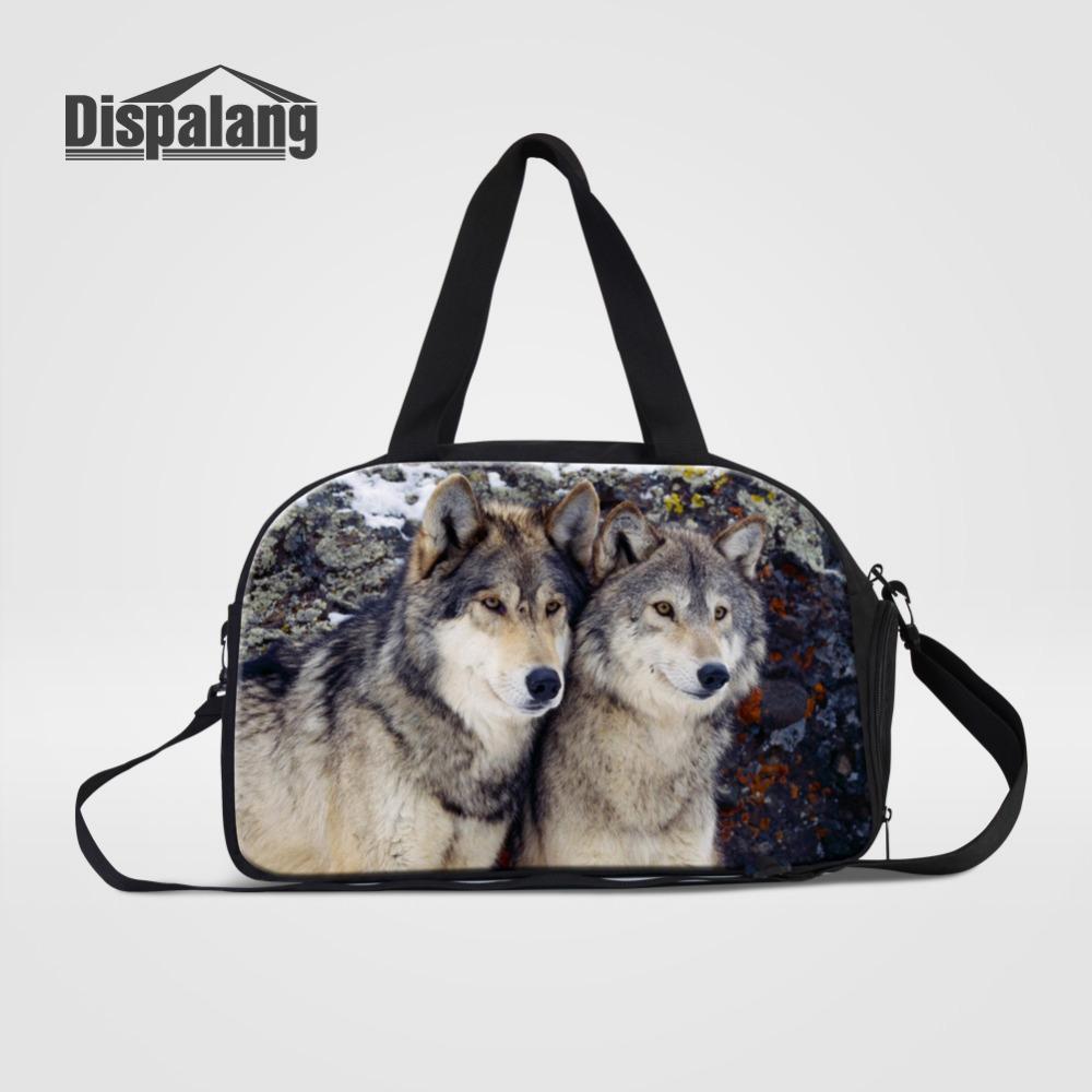 ... Handbags  wholesale dealer 72cf2 a1c47 Dispalang Large Capacity Men  Travel Bag Wolf Animal Print Casual Luggage Weekend ... 2a8607ee98b50
