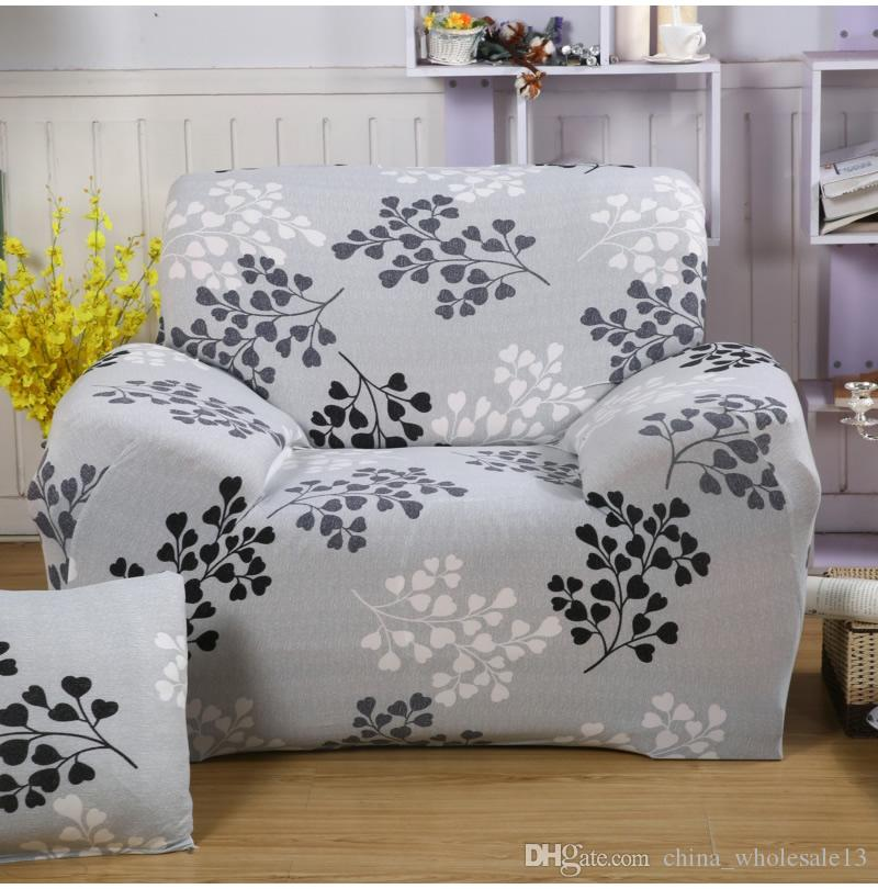 Universal Printed grey leaves sofa Cover elastic seat washable removable  chair covers stretch banquet Hotel home decorationAEI-069