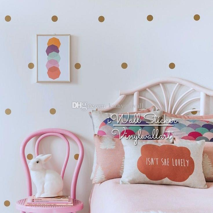 Golden Polka Dots Wall Sticker iWall Sticker Baby Nursery Gold Dot Wall Decal Kids Room Decor DIY Removable Decals High Quality Cut Vinly P1