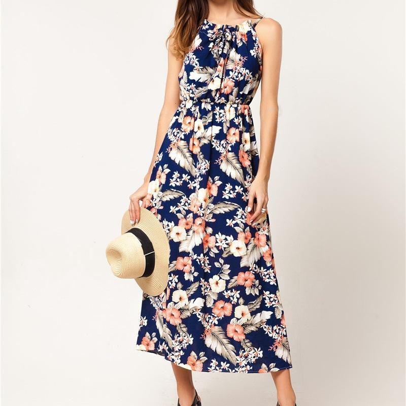 Vestido azul con flores largo