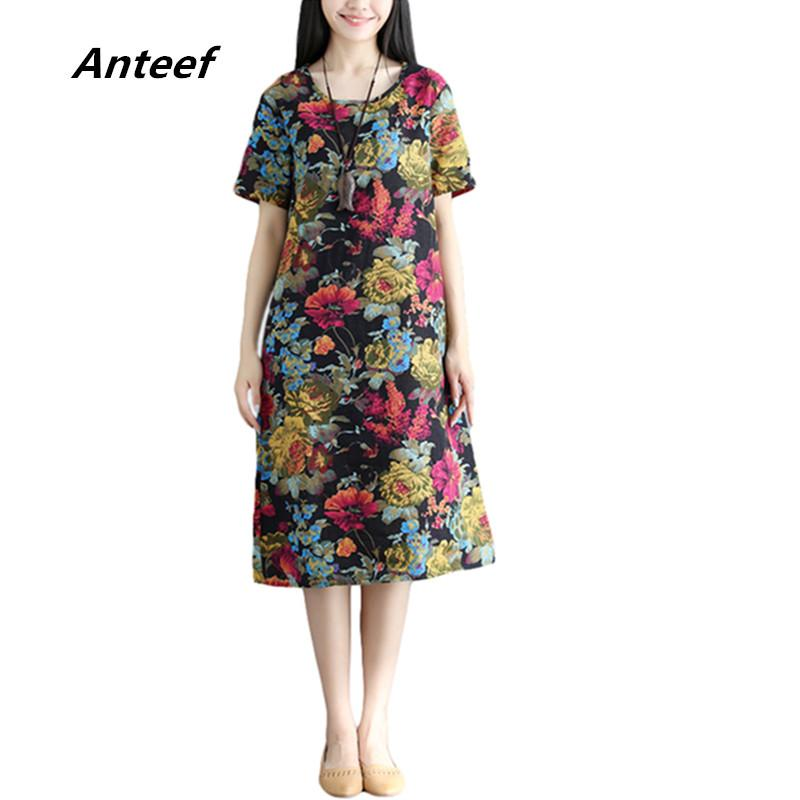 5cb26cfc903 Anteef Black Red Cotton Linen Vintage Floral Print Clothes Women ...