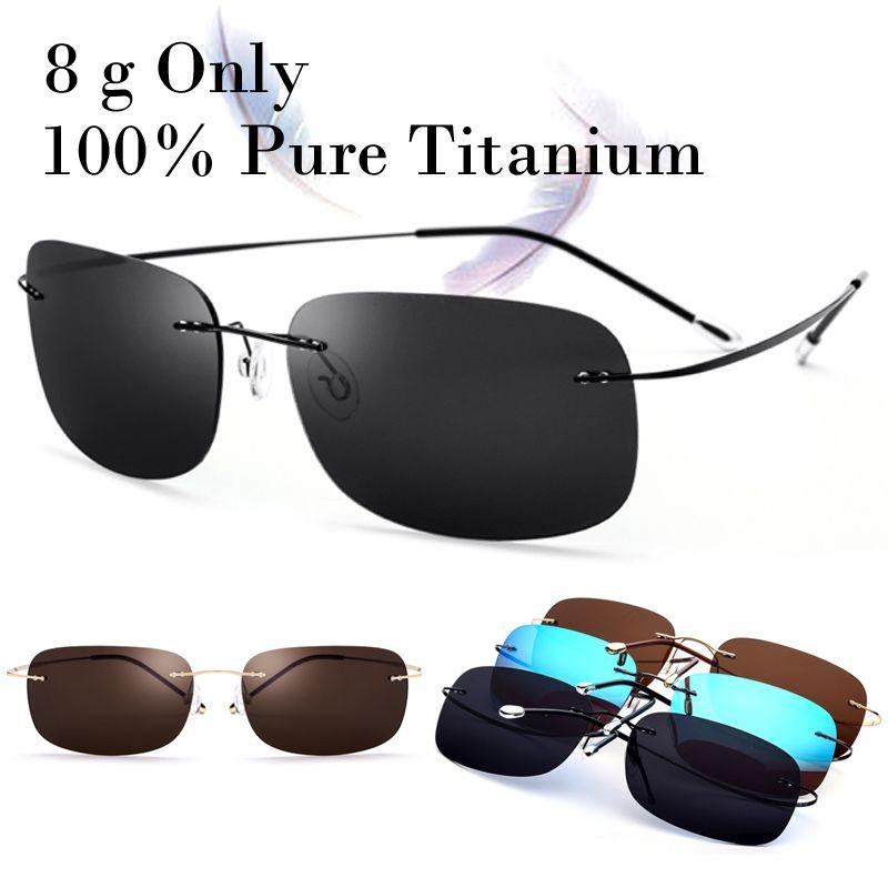f8302286681b2 100% Real Titanium 8 G Only Polarized Rimless Square Matrix Sunglasses Men  Women With Box Driving Fishing Sun Glasse Oculos New Police Sunglasses  Serengeti ...