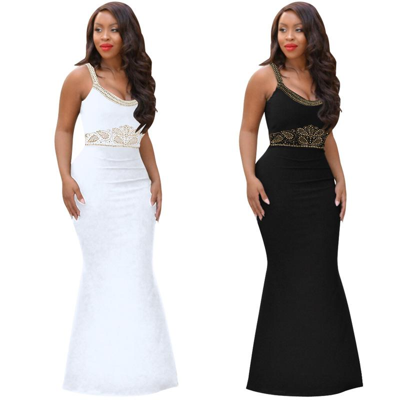 d5cb415dcf982e 2019 Black White Women Sexy Bodycon Dress Rhinestone Maxi Dress Slim  Sleeveless Low Out Wrap Long Vestidos Evening Party Costume From  Fetishqueen