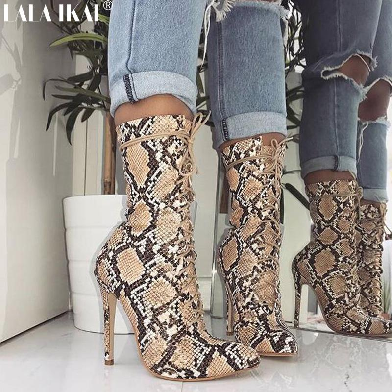 f5f331a9488 wholesale Women Boots Snakeskin Print Party Shoes Cross-tied Ankle Boots  Plus Size Sexy Ladies High Heel Shoes XWC2536-5