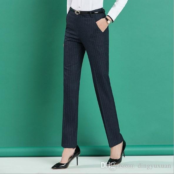 b9667ee7aa Compre Tallas Grandes 4XL Negro Azul Gris Rayas Pantalones Formales Para  Mujer Oficina Estilo De Trabajo Ropa De Trabajo Pantalones Rectos Ropa De  Mujer ...