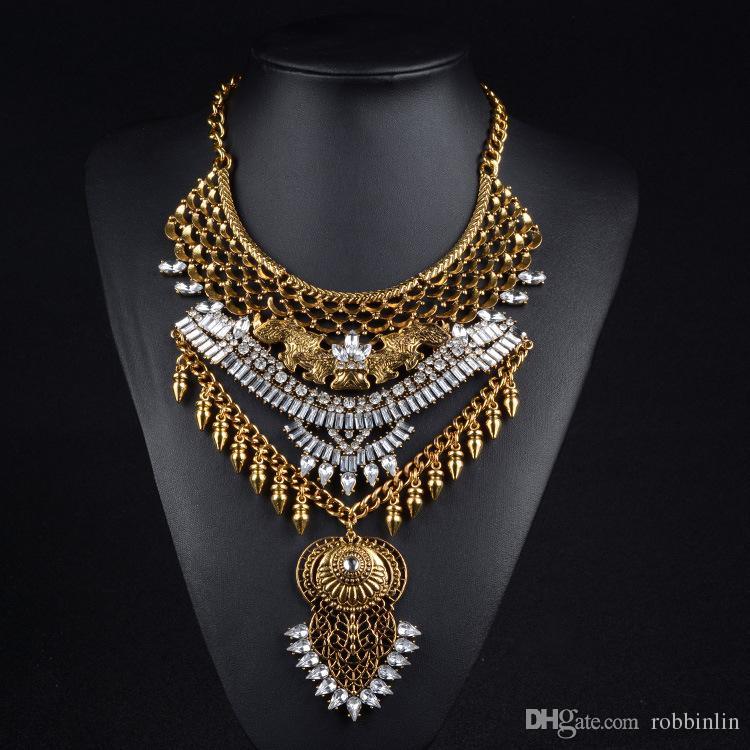3 Цвета Мода Нагрудник Богемный Заявление Ожерелье Монеты Панк Этнический стиль Ювелирные Изделия для Женщин Ожерелье Новизны