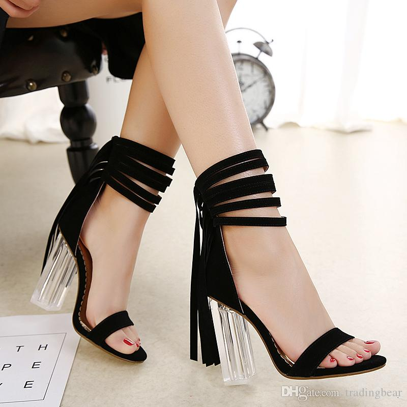 10cd8989c0f Sexy Red Wedding Shoes Synthetic Suede Tassels PVC Transparent ...