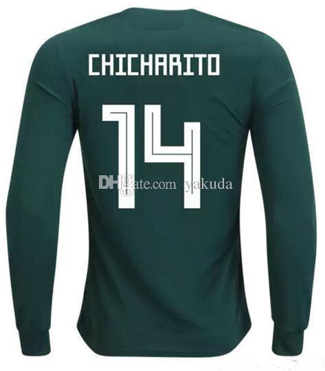 18 19 Mexico Home Manga Larga Personalizada De Calidad Tailandesa 14  Jerseys De Fútbol Chicharito J.Hernandez e128a3a83f335