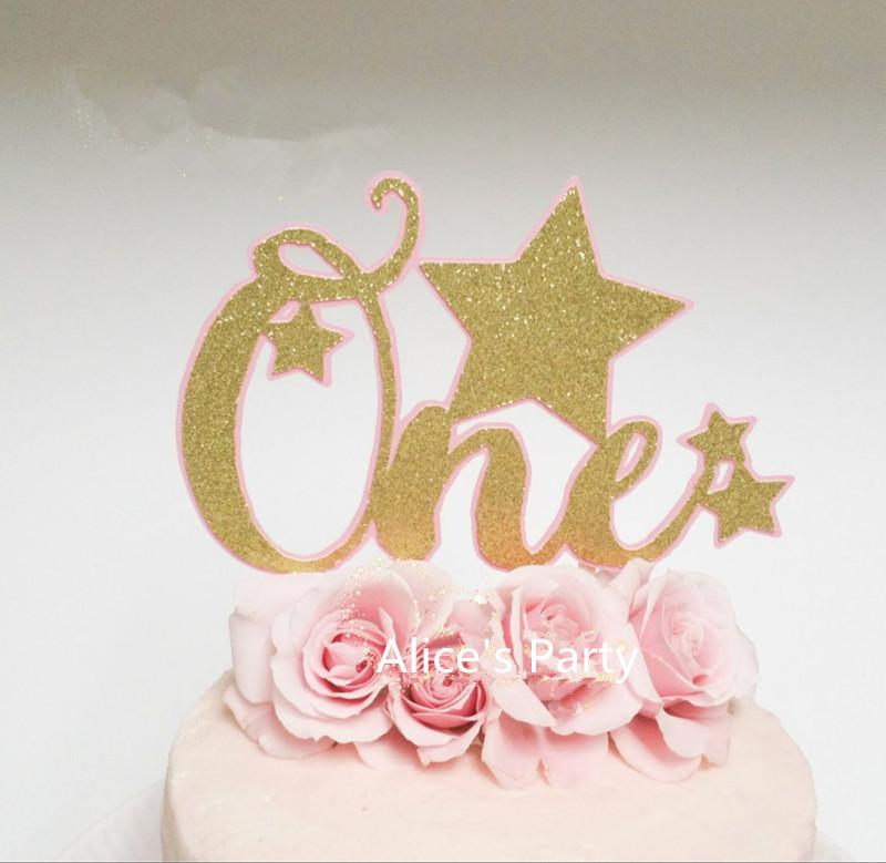 2019 Gorgeous Pink Twinkle Little Stars Gold One Cake Toppers 1st