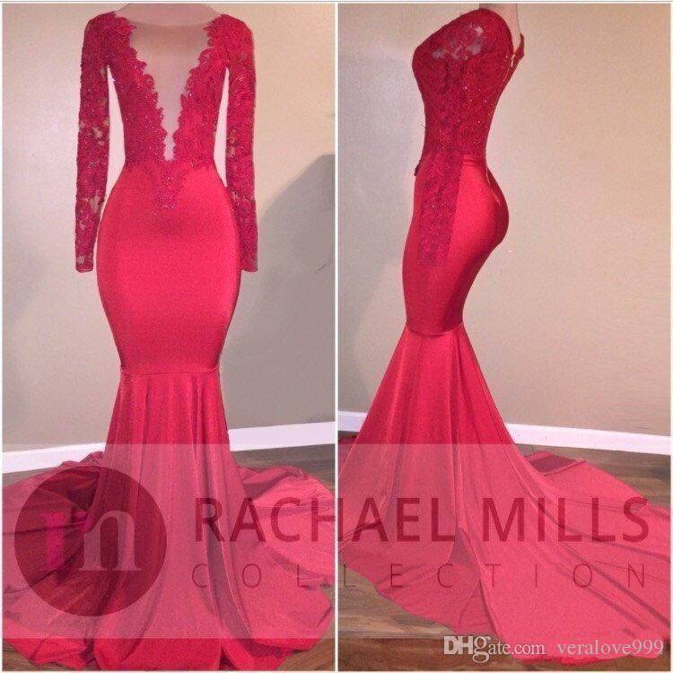 2K18 Red Mermaid Prom Dresses Evening Wear Lace Applique Sequin Celebrity Gowns Sweep Train Long Sleeves Party Dress Cheap