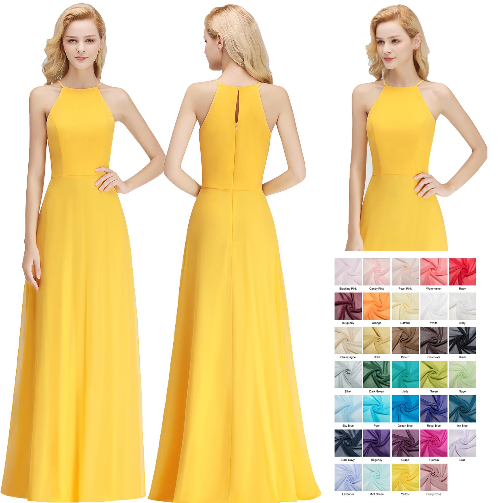 2018 Simple Cheap Yellow Bridesmaid Dresses Sexy Halter Chiffon Floor Length Wedding Guest Dress Real Image Free Shipping BM0038