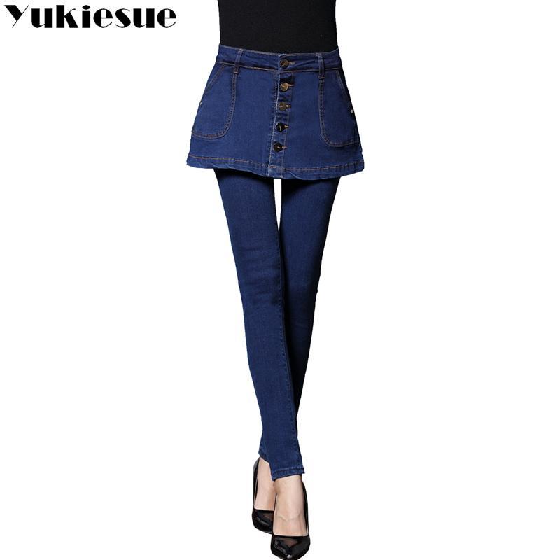 686f0225ee9bb Fashion Ladies Vintage Button A-line Cropped Skirt Jeans Women Plus Size  Pencil Skinny Jeans Femme Stretch Denim Pants Plus Size Online with   56.74 Piece on ...