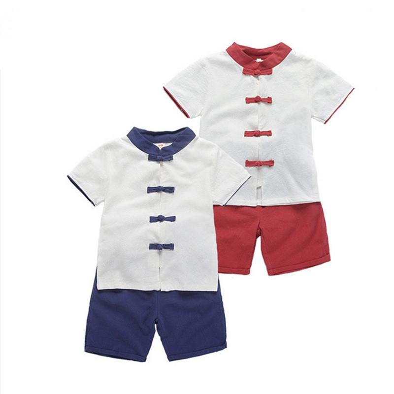 New Summer Boys Chinese Style Linen Clothing Sets Children's Plate buckle T shirt +Solid Shorts 2 Pieces Clothes Suit