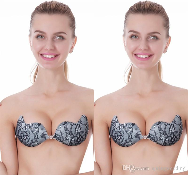 a21c09e302b54 Hot Elegant Black Lace Nubra Adhesive Bras Invisible Self-Adhesive Silicone  Breast Bra Pad A B C D Cups CPA822 Online with  11.96 Piece on  Springwedding s ...