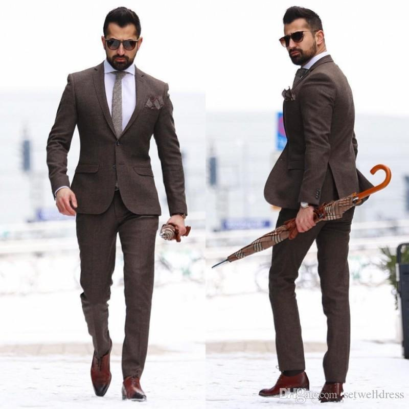 2018 New Fashion Mature Brown Men Suits Groom Wear Tuxedos Cheap Two Pieces Mens Wedding Suit Custom Made Jacket+Pants