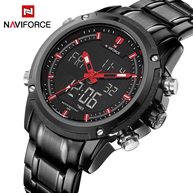 Naviforce Top Luxus Marke Männer Sport Uhren Männer Einzigartige Quarz Datum Uhr Männlichen Leder Armee Militärische Wasserdichte Armbanduhr Quarz-uhren Herrenuhren
