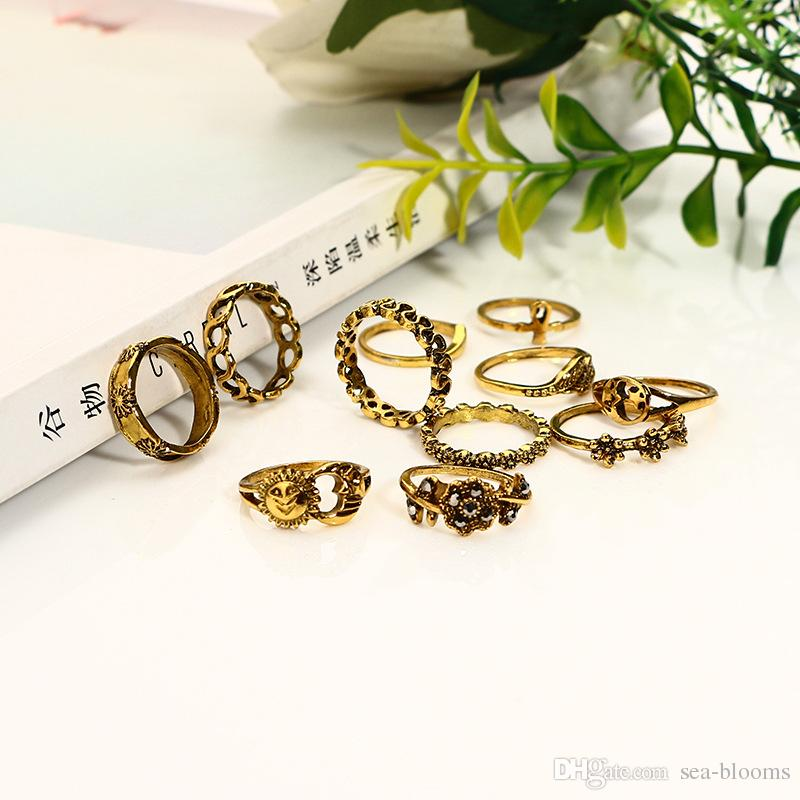 Bohemia Sliver Gold Color Punk Joint Rings Vintage Hollow Carved Flowers Knuckle Rings Set Finger Ring Gift D449L
