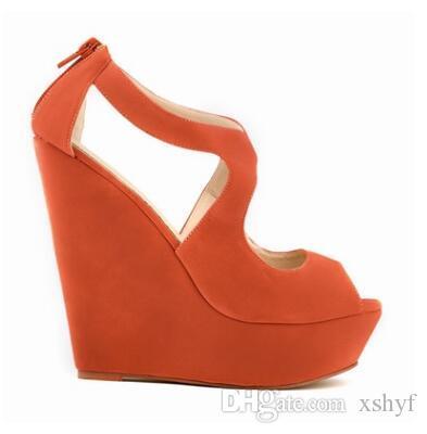 Sandalen Leder Weibliche High Sommer Wildleder Reißverschluss Plattform Toe Mode Verkauf Heißer Keilabsatz Peep Weichem Frauen Micro Heels 8wPkn0O