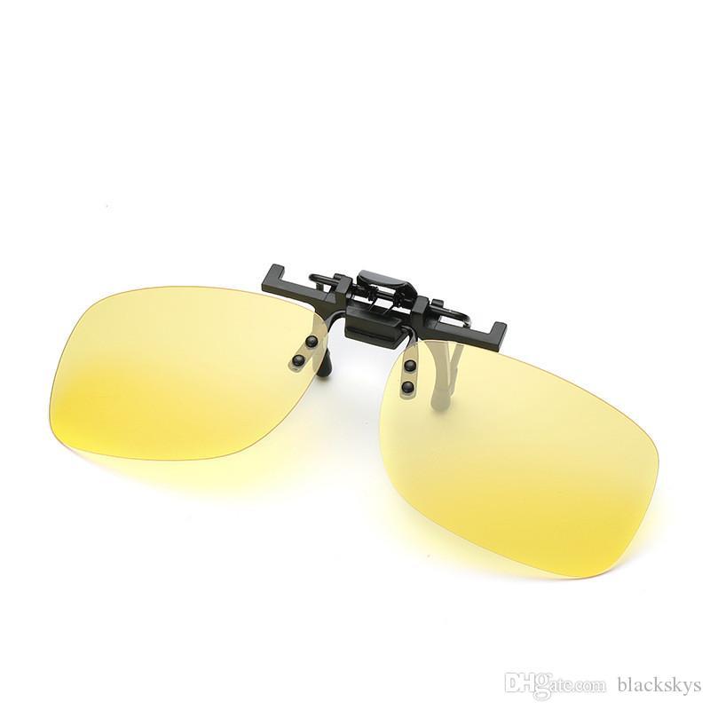 Hombres Mujeres retro Flip Up gafas de sol polarizadas Clip en gafas de miopía Gafas de visión nocturna gafas de sol sin marco UV400